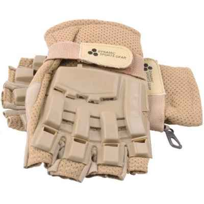 Paintball Half Finger Gloves with Protectors (Desert / Tan) | Paintball Sports