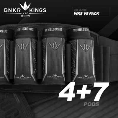 BunkerKing Strapless 4 + 7 Paintball Battlepack V5 (WKS Black) | Paintball Sports