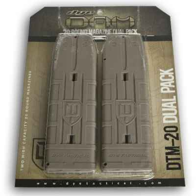 DYE DAM 20 rounds of spare magazines 2-pack (tan) | Paintball Sports