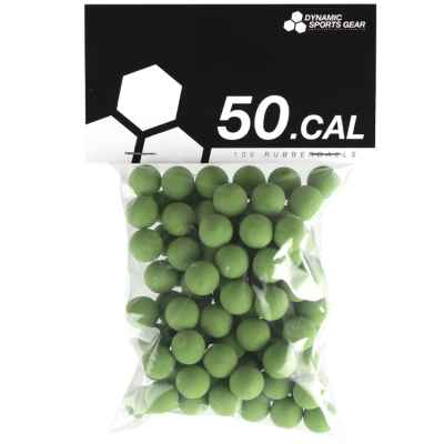 Cal. 50 Paintball Rubberballs / rubber bullets (100 pieces) - GREEN | Paintball Sports