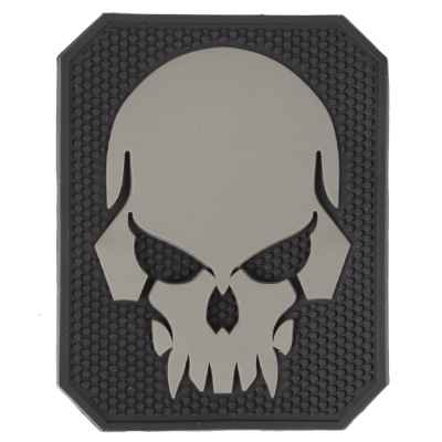 Paintball / Airsoft PVC Velcro Patch (Skull, Gray) | Paintball Sports