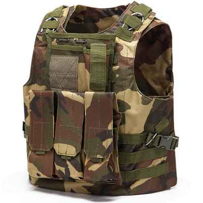 Tactical Paintball Molle Vest with Pockets (Woodland Camo) | Paintball Sports