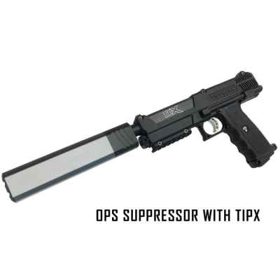 RAP4 OPS silencer with barrel for Tippmann TPX pistol (silver) | Paintball Sports