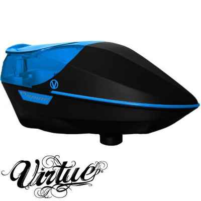 Virtue Spire Paintball Hopper (black / cyan) | Paintball Sports