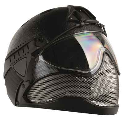 WarQ Fullface Airsoft Hard Hat (RAPTOR-Black) | Paintball Sports