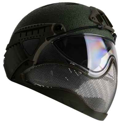 WarQ Fullface Airsoft Hard Hat (RAPTOR-Green) | Paintball Sports