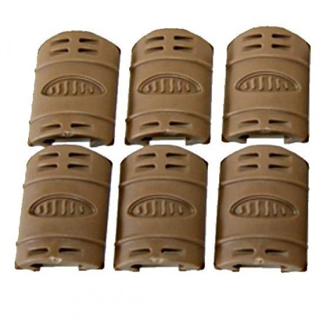AR-15 Weaver Rail Rubber Cover, Pack of 6 (TAN) | Paintball Sports